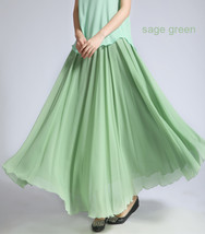 Women MAXI Chiffon Skirt DARK GREEN Silky Chiffon Maxi Skirt Beach Wedding Skirt image 6