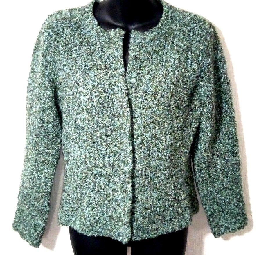 Talbots Petites Women's M Blue Green Wool Snap Buttons Sweater Cardigan