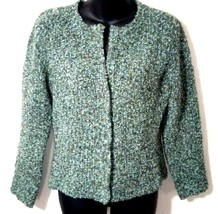 Talbots Petites Women's M Blue Green Wool Snap Buttons Sweater Cardigan - $27.88