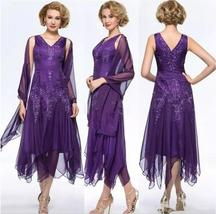 Sexy Purple Lace Tea Length Mother Of The Bride Dresses Formal Prom Gowns 2018 - $132.99