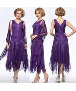 Sexy Purple Lace Tea Length Mother Of The Bride Dresses Formal Prom Gown... - $132.99