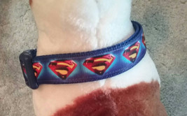 Superman dog collar. Blue Superman ribbon with Red and Yellow Superman l... - $16.00+