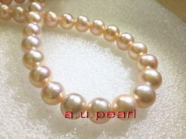 "ROUND AAAAA 17""12-14mm real NATURAL south sea gold pink pearl necklace 1... - $1,199.50"