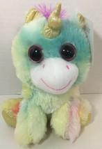Goffa Unicorn plush rainbow multi-color big pink eyes green blue yellow purple - $7.91