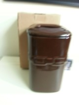 Longaberger Large Chocolate Brown Canister With Lid Pottery New Holds 70 OZ - $46.48