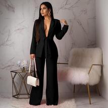 Women Sexy Deep Black VNeck Long Sleeve Gray Blazer And Pant Formal Wear To Work