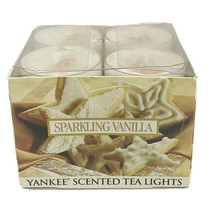 Yankee Candle Sparkling Vanilla Scented Tea Lights Box of 12 Brand New R... - $14.99