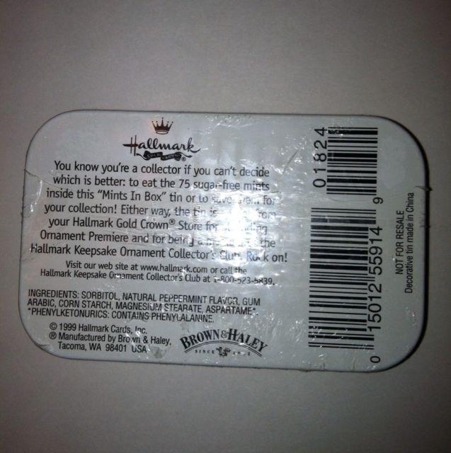Hallmark 1999 Mints in Box Zebra Rocking Horse Tin New