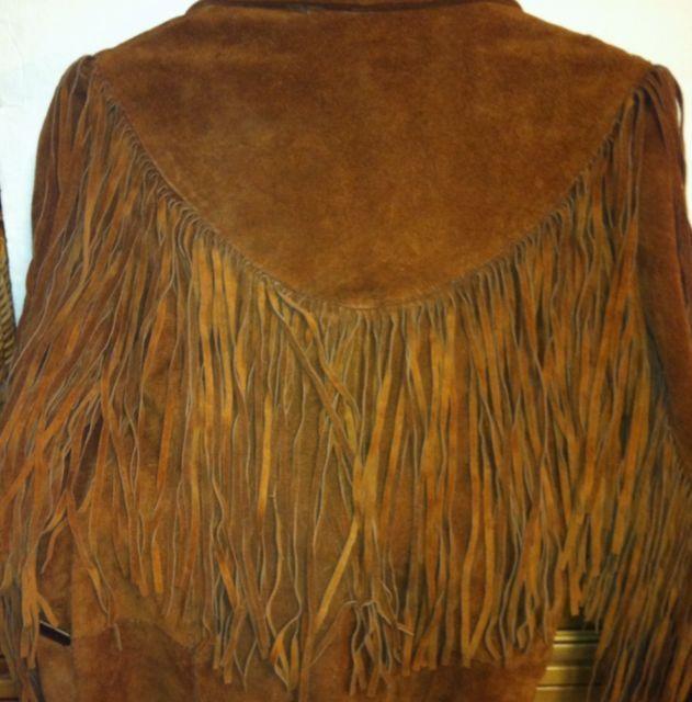 Ladies Western Genuine Cowhide Leather Fringed Jacket