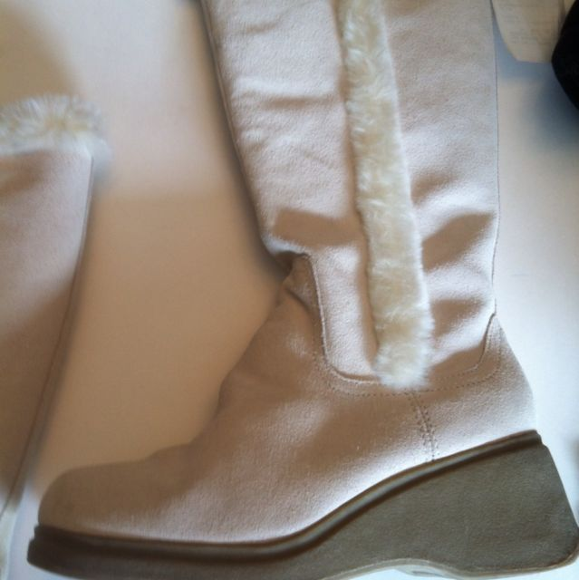VTG BONGO BoHo Chic White Wedge Faux Fur Knee High Heeled Winter  Boots sz 7