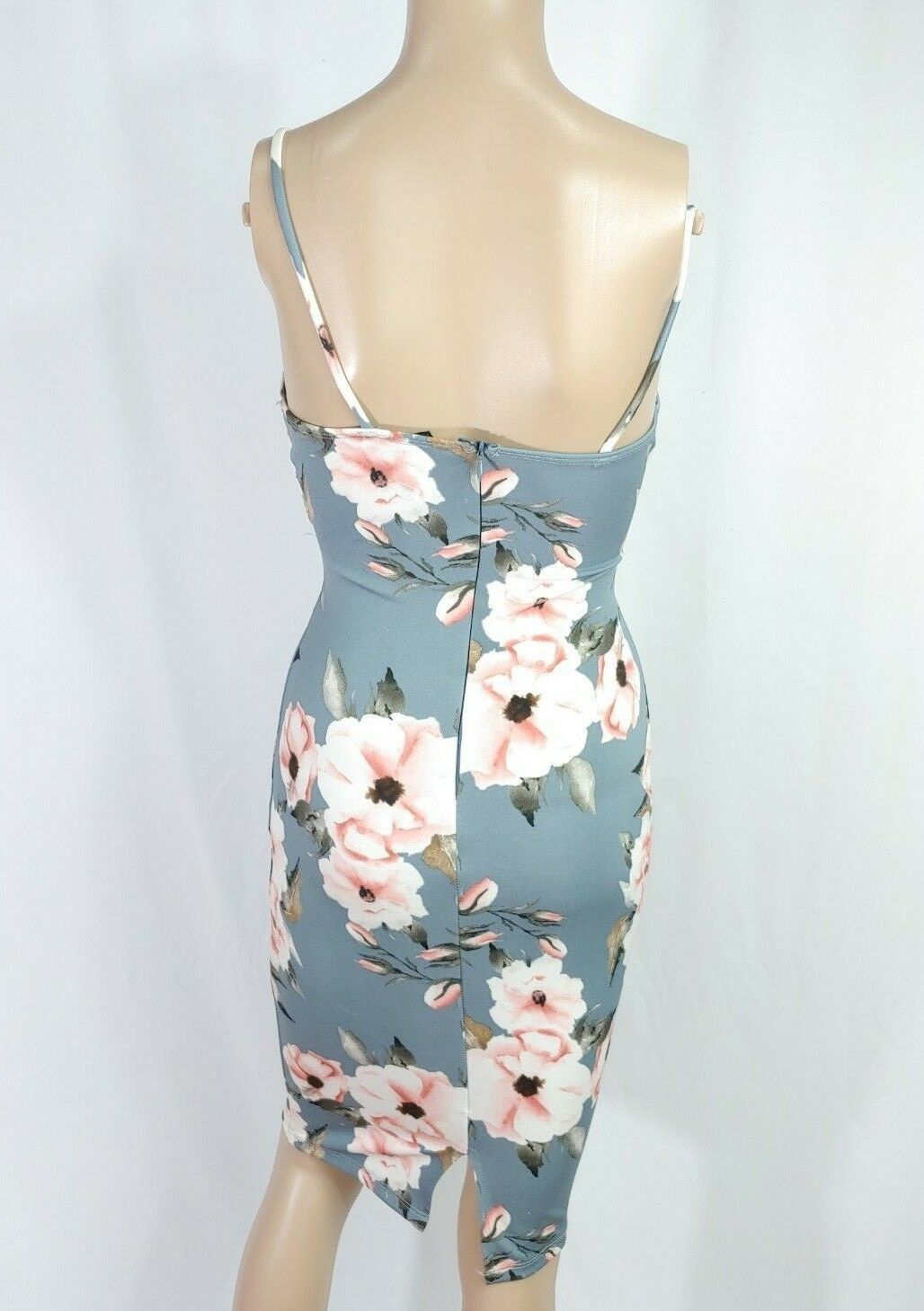 Windsor Gray Pink Poppy Floral Criss Cross Cut Out Wrap Bodycon Cocktail Dress S