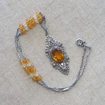 Vintage Art Deco Marcasite Crystal Pendant Necklace - $40.00