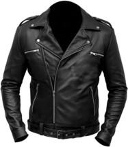 Mens Negan Jacket Jeffrey Dean Morgan Walking Motorcycle Biker Black Le - $110.00