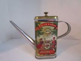 Vintage ~ VERCHERIN & Cie~ Olive Oil TIN DISPENSER Container w/ Pour Spo... - $12.80