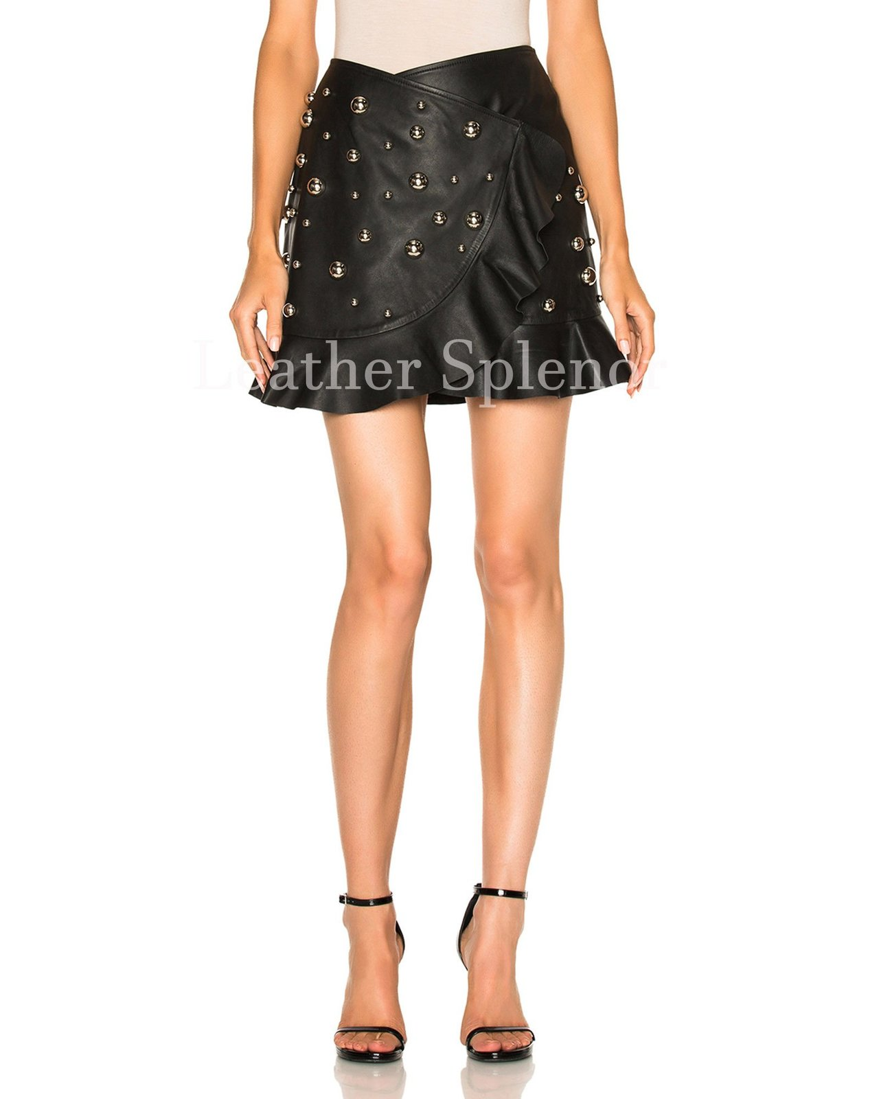 Overlay Women Ruffled Mini Leather Skirt