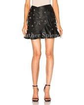 Overlay Women Ruffled Mini Leather Skirt
