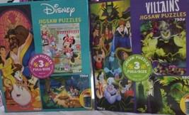 Ceaco Disney Villains Evil Belle Beast Mickey Goofy Minnie 6 Puzzles 550+ Pieces - $47.51