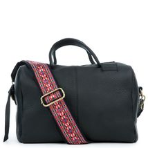 Women's Leather Satchel Handbag Purse with Embroidered Tribal Pattern Strap image 3