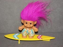"Russ Troll Doll: 3"" Surfer Surfboard - $15.00"