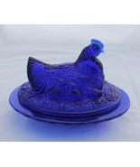 New Cobalt Blue Glass Hen on Nest with Chicks in Basket Retro Depression... - $24.00