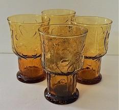 4 Libbey Amber Country Garden Daisy Flower Tumbler Glasses Vintage 1960'... - $29.69