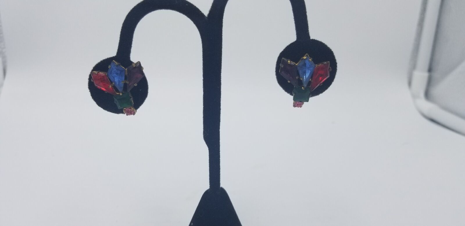 Primary image for Vintage Czecho Bohemian Glass Multi Color Stones Peacock Screw Back Earrings EUC