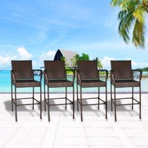 Set of 4 Outdoor Wicker Bar Stool Outdoor Patio Furniture Bar Chairs, Brown - $199.99