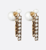 NEW AUTH Christian Dior 2020 J'ADIOR EARRINGS GOLD CRYSTAL DANGLE MULTI ... - $499.99