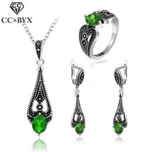 CC Jewelry Silver Color Vintage Green Stone CZ Set Earring Necklace Ring Fashion - $14.85