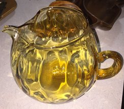 Yellow Glass Pitcher Handcrafted Blown Art Glass Made in Italy Vintage R... - $20.00