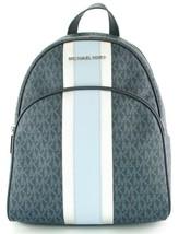 Michael Kors Abbey Monogrammed PVC Medium Backpack Admiral Blue - $471.94