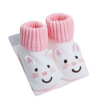 WHITE Cat Toddler Anti Slip Skid Shocks Baby Stockings Newborn Infant Shoes