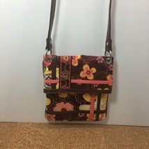 VERA BRADLEY CROSSBODY BAG, BROWN FLORAL, BUTTERCUP, FLIPSTER HIPSTER - $9.90