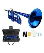 B Flat Blue Trumpet with Case and Mouth Piece, Gloves, Oil - $129.00