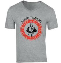 KNIGHT TEMPLAR 45 - NEW COTTON GREY V-NECK TSHIRT - $20.70