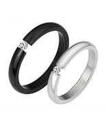 Matching Twin Couple Partner Titanium Steel Crystal Rings Free Shipping ... - $50.00