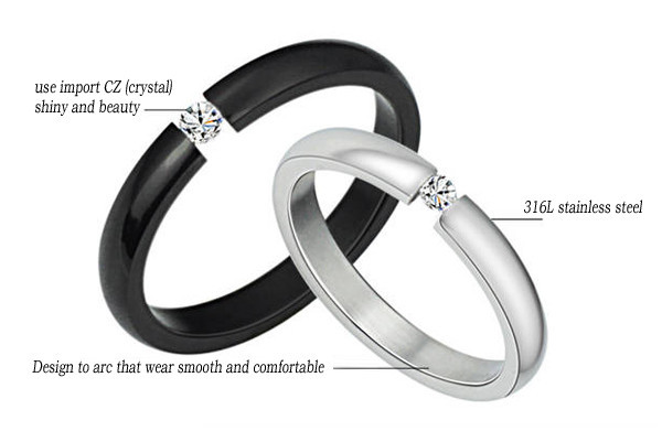 Matching Twin Couple Partner Titanium Steel Crystal Rings Free Shipping 2pcs