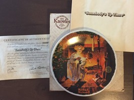 Knowles Christmas Plate 1979 Somebody's Up There Norman Rockwell Certifi... - $13.85