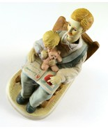 """Porcelain Music Box Man Reading to Child Bear, Plays """"Just The Way You Are"""" - $9.89"""