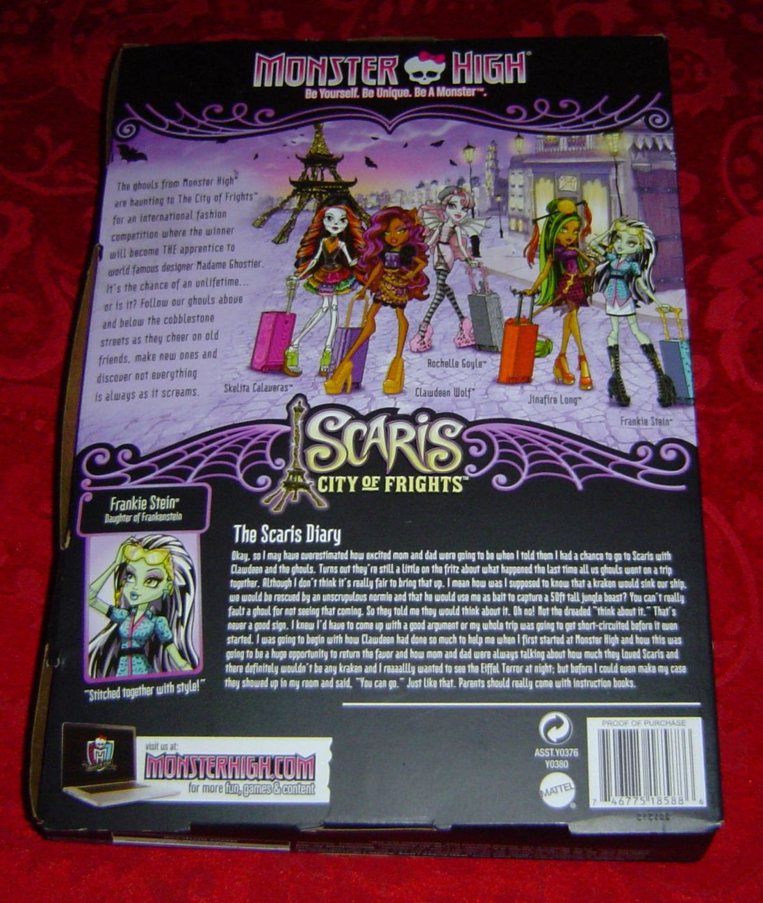 Monster High Frankie Stein Scaris City of Frights Travel Doll Diary Suitcase