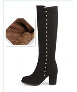 ORCHA LISA Knee High Boots Warm  Womens Shoes Zipper Rivets Knee Boots B... - $70.26