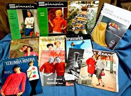 ELEVEN VINTAGE 1950's-60's KNITTING PATTERN BOOKLETS: SPINNERIN, MINERVA... - $12.50