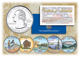 2005 US Statehood Quarters COLORIZED Legal Tender 5-Coin Complete Set w/... - $12.16