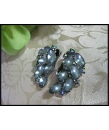 Vintage Frosted Blue/Gray & Aurora Borealis Rhi... - $8.00