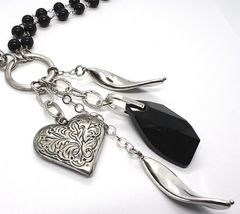 925 Silver Necklace, Double Onyx, Chain Dangle, Heart worked image 3