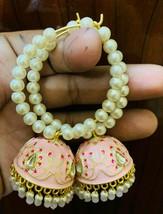 Kundan Jhumka with beg pearls bali earrings Beige Lattest Desgins Jewele... - $36.62