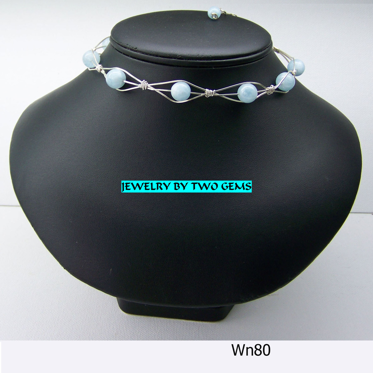 Jewelry By Two Gems (Wn 80) Sterling Silver Braided Collar w Aqua Beads