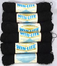 Black Bucilla Yarn 16 Skeins Knitting Crafts Hand Washable Acrylic Nylon Blend - $28.84