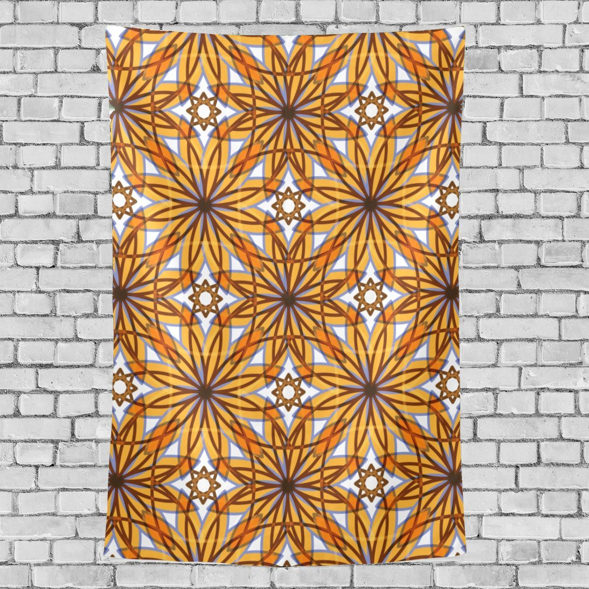 Edgy Art Wall Decor Scarlet Yellow Streaks Art Pattern