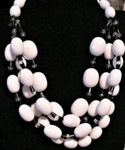 Vintage MONET Chunky Beads Necklace 4-strand White Black & Clear Beads - $99.95